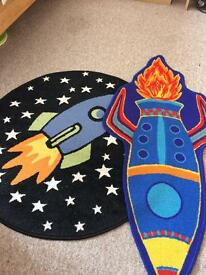 2x boys space rugs