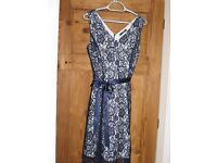 Bridesmaid or Prom dress - Navy lace with bolero (size 10)