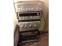 Lot of 8 vintage hifi amplifiers receivers for spares or repairs pioneer technics sansui