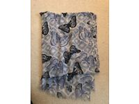 Blue butterfly scarf