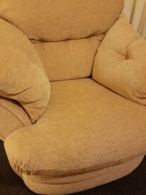 Armchair and Footstool / Pouffe Set Beige Cream Chenile Type Material Excellent Clean Condition