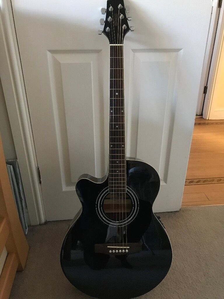 Left Handed Stagg Electro Acoustic Guitar Colour Black In