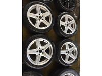 "17"" MERCADES STYLE ALLOY WHEELS C CLASS MK5 GOLF PASSAT SHARAN SET OF 4"