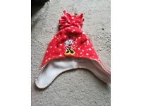 Childs Disney Mini Mouse Warm Hat 2 To 4 Yrs