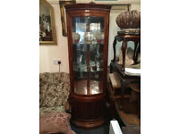 Gorgeous Carved Rosewood Bow Front Mirror Back Glass
