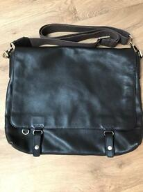Reiss Leather Messenger Bag - Brown