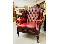 Fabulous oxblood leather deep button Queen Anne chesterfield wingback armchair