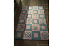 100% Wool Rug - blue and lilac pattern - lovely soft thick pile