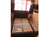 Luxury black leather double bed