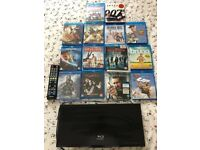 Samsung blueray DVD player and DVD's hardly used great condition remote needs batteries