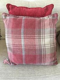 Pair of red tartan cushions from Next - ex condition