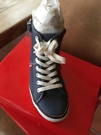 Blue boot trainers brand new with zip and lace