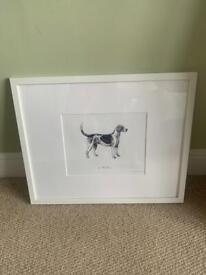 Dog Painting - Framed - White