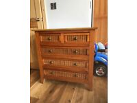 Triple pine wardrobe and chest of drawers set