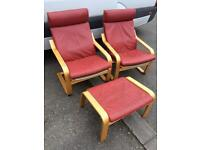 2 x Ikea Leather Poang Chairs & Footstool