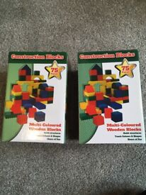 2 boxes of wooden construction blocks
