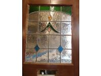 WOODEN FRONT DOOR WITH STAINED GLASS INSERT