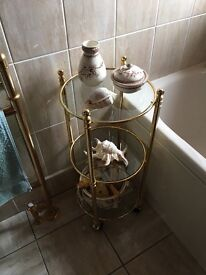 Bathroom glass display trolley