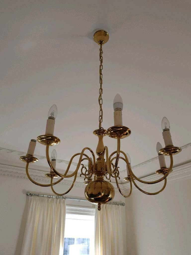 Gold brass chandelier 8 arm