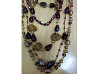 ITALIAN DESIGNER HAND BLOWN AND MADE ART GLASS FIVE STRAND NECKLACE IN SHADES OF GOLDS, AND CARMELS