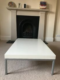 White gloss metal legs coffee table
