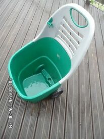 Garden items: scarifier, wheeled garden waste transporter