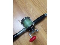 Wooden boat fishing rod vintage 2 piece