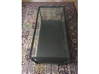 Ikea perfect glass metal and wood coffee table