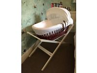 JOHN LEWIS WOOD MOSES BASKET AND WHITE STAND - BARGAIN