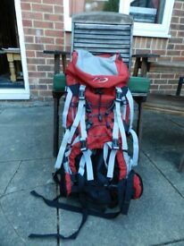 65 litre rucksack in red