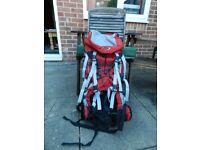 65 litre rucksack in red