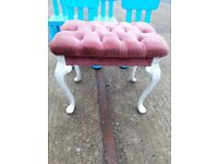Piano stool pink white fabric wood vintage