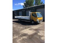 Mitsubishi canter 7.5 ton flatbed with side capes