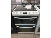 BRAND NEW ZANUSSI WHITE 60CM ELECTRIC CERAMIC HOB COOKER WITH OVEN & GRILL