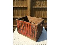 Vintage antique wood wine bottle crate - 'Jaycon table water' design
