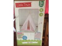 Little Town Kids TeePee Wigwam Pink Chevron Brand New 3+