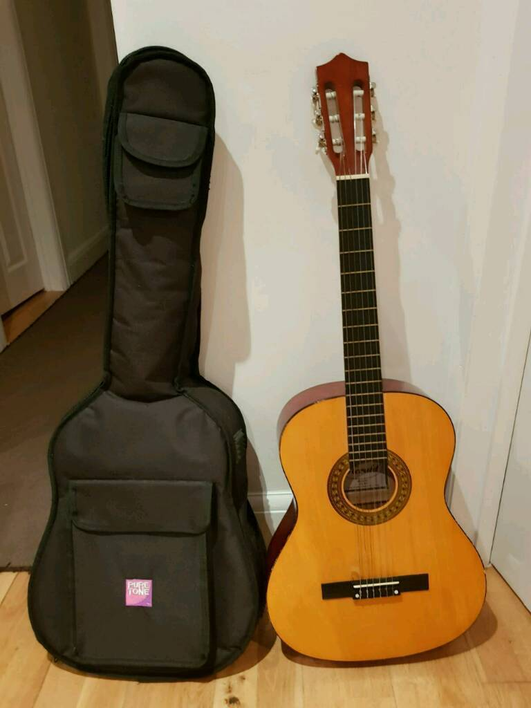JHS full size 4/4 Classical Acoustic guitar with free tuner and capo