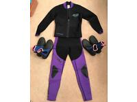 Wetsuit with Jacket and two pairs of wetsuit shoes