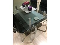 Glass dining kitchen table with 4 chairs