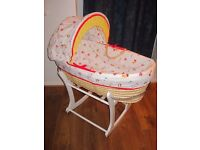 ***For Moses basket: Mothercare COVER and HOOD in WHITE / RED***