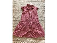 Girl's Red Gingham Summer School Dress Size 5-6 Years