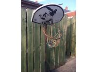 Basketball Hoop/net. Movable and adjustable. £10.00 Fair condition as has been outside.