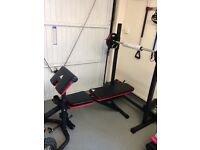 Adidas weight bench,squat rack,bar & 35kg of weights.