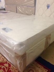 New double bed +quality sprung mattress with memory foam + 2 storage drawers for sale