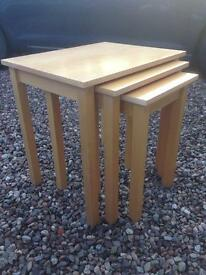 Beech wood nested tables