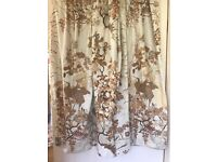 Pretty Cream & Brown Japanese Influenced Fowers & Birds Curtains, Lined.
