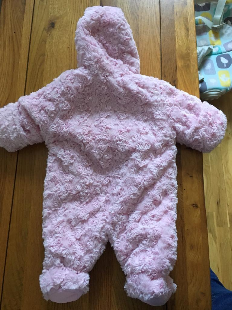 Pink fluffy newborns snow suit