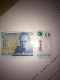New £5 note AK47