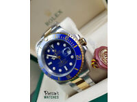 Rolex Sub. Bi-Metal, Blue Face, Blue Bezel. Box and Paperwork Included