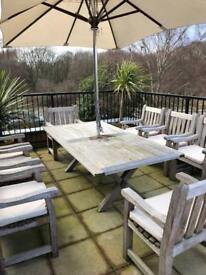 Woodfurn of Bristol Solid oak garden table and x8 chairs/seaters